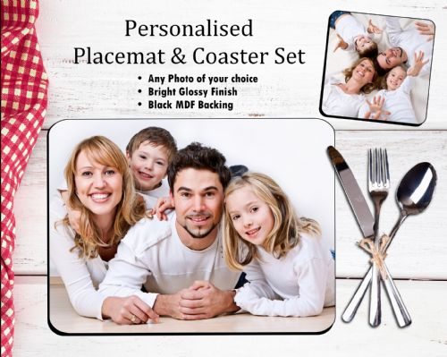 Personalised Placemat & Coaster Set N1 - Your Photo / Text / Logo